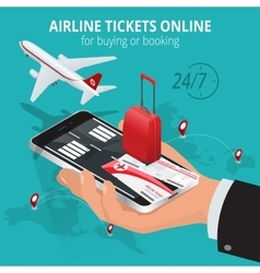 Airline tickets online buying or booking airline vector