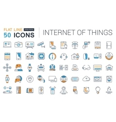 Set flat line icons internet of things vector