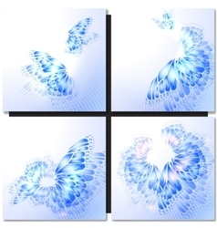 Abstract blue background with butterfly vector image vector image