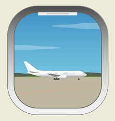 Airport aircraft illuminator window view vector