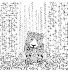 Bamboo panda coloring page vector
