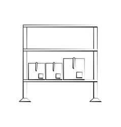 boxes on shelf vector image