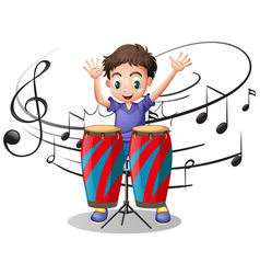Boy playing drum with music notes in background vector