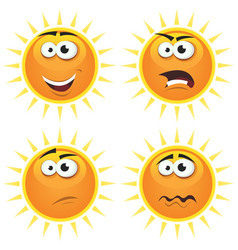 cartoon sun icons emotions vector image