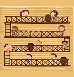 Children on different levels vector