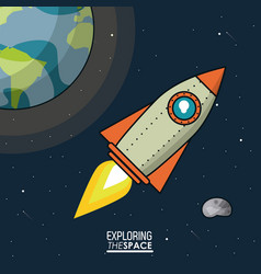 colorful poster exploring the space with spaceship vector image vector image