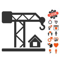 Construction crane icon with dating bonus vector