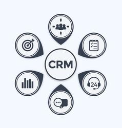 Crm customer relationship management infographics vector