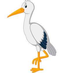 Cute stork cartoon vector