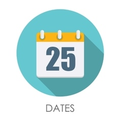 Dates Flat Icon with Long Shadow vector image