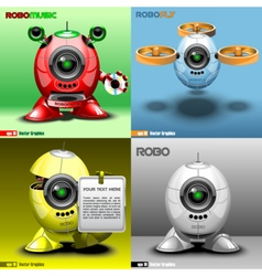 Digital robo set music fly red blue vector image vector image