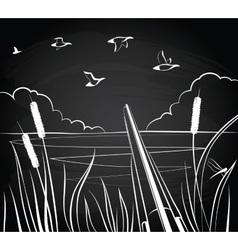Duck hunting with a double-barreled shotgun vector image