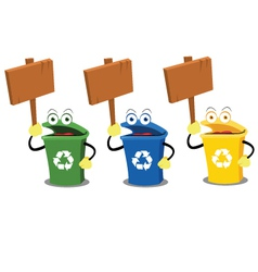 Funny recycling bins holding woodens signs vector