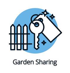 Garden sharing key icon black outline concept vector