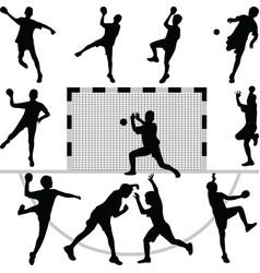Handball silhouettes vector