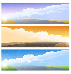 highway road background set vector image