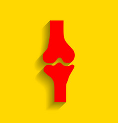 knee joint sign red icon with soft shadow vector image vector image