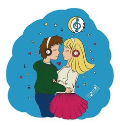 love guy and girl hugging vector image