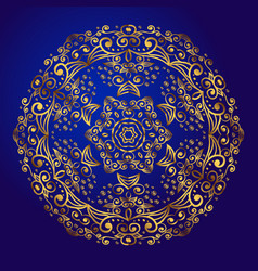 Mandala amulet esoteric gold symbol on a blue vector