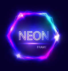 Neon sign hexagon background glowing frame vector