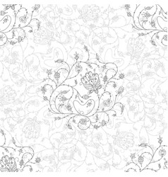 Ornate flowers seamless pattern grey vector