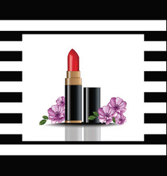 Red lip stick mock up cosmetics card vector