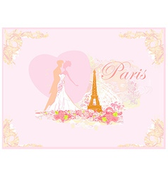 Romantic wedding couple dancing in paris kissing vector