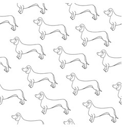 Seamless pattern with awesome contour dog breed vector