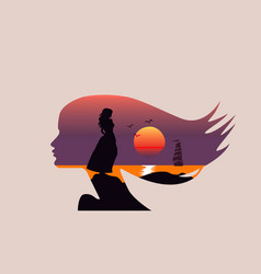 Seascape in silhouette - woman face profile sun vector