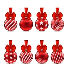 Set christmas red glassy balls with bow vector