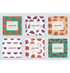 Set of 6 bright cards with summer symbols vector