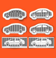 Set of labels barcode automotive isolated on vector