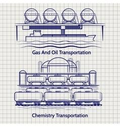 Sketched factory industrial landscape vector image