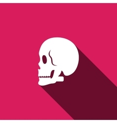 skull icon with long shadow vector image vector image