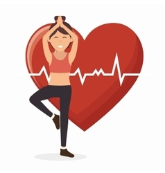 sport girl working heart monitoring vector image