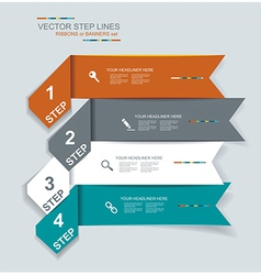 Step lines set web banners origami vector