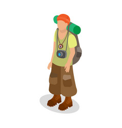 Tourist in a travelers outfit with a backpack vector