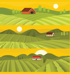 vineyard wine banner horizontal set flat style vector image
