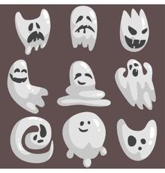 White ghosts in childish cartoon manner set on vector