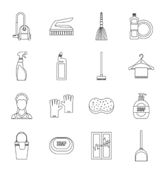 House cleaning icons set outline style vector image