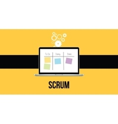Scrum methodology with laptop and sticky notes vector