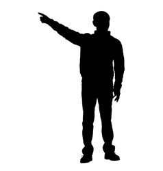 Silhouette of a man with his hand raised vector image