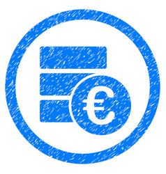 Euro money database rounded icon rubber stamp vector