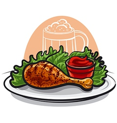chicken leg vector image