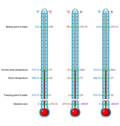 Thermometers celsius kelvin fahrenheit vector