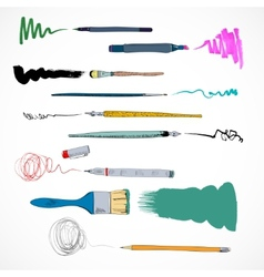 Drawing tools icon sketch vector