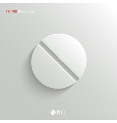 Medicine pill icon - white app button vector
