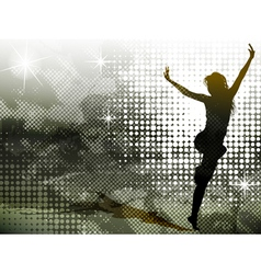 Green background with jumping girl vector