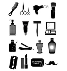 Saloon barbershop icons set vector