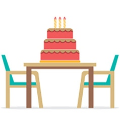 Cake on a table with chairs on white background vector
